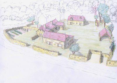 Croquis de-l'ensemble des trois maisons du Mas de Charles